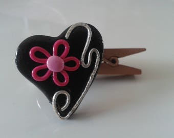 """Summer"" polymer clay heart Adjustable ring - and-blah-and-blah"