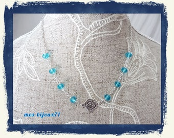 Pink metal necklace - clear turquoise blue glass beads