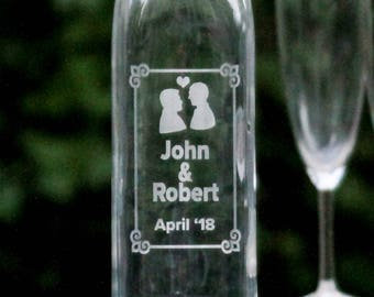 Gay Wedding Gift//Personalized Etched Glass Bottle//Gay Couple Gift//Mr. and Mr.//Personalized Gift//Decanter//Carafe//Gay Wedding Favors