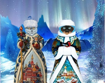 Cat greeting card: Christmas in Russia
