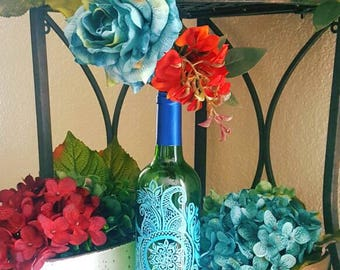 "Decorative wine bottle ""blue henna"" hand painted. One of a kind."