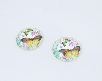 2 cabochons resin 20 MM butterflies design