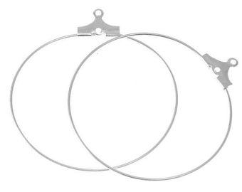 6 support rings earrings 30mm silver hoop earrings