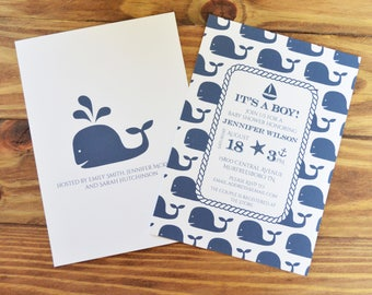 Nautical Baby Shower Invitations | Printed Invitation or Printable | Whale Baby Shower | Baby Boy | Optional Book for Baby Cards