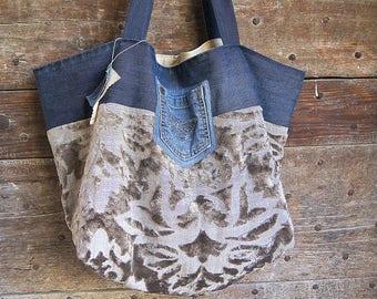 Denim and velvet tote bag