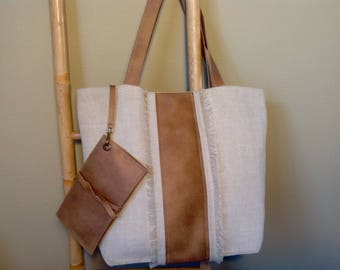 Tote bag and its holder card sand color cotton-linen fabric and faux camel leather