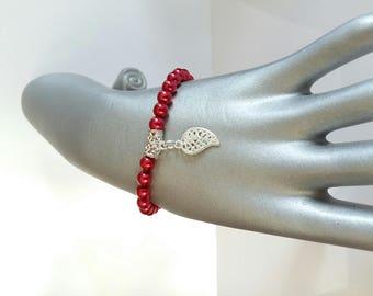 Bracelet elastic red renaissance and silver leaves