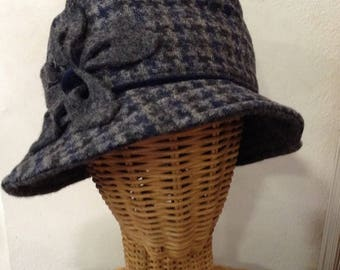 Grey, charcoal and Navy wool hat