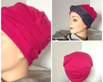 Fuchsia pink color jersey chemo Hat