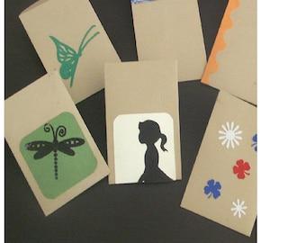 Assortment of small fancy kraft envelopes