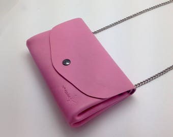 Pink soft calf leather wallet
