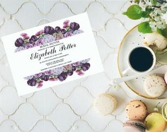 Bridal Shower Invitation With Watercolor Flowers, Party Invitation, Watercolor Peonies Boho Printable Invitation DIGITAL FILES