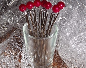 set of 7 red Pearl hair pins