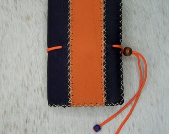 Book handmade plum and orange leather leather pocket book reader cover