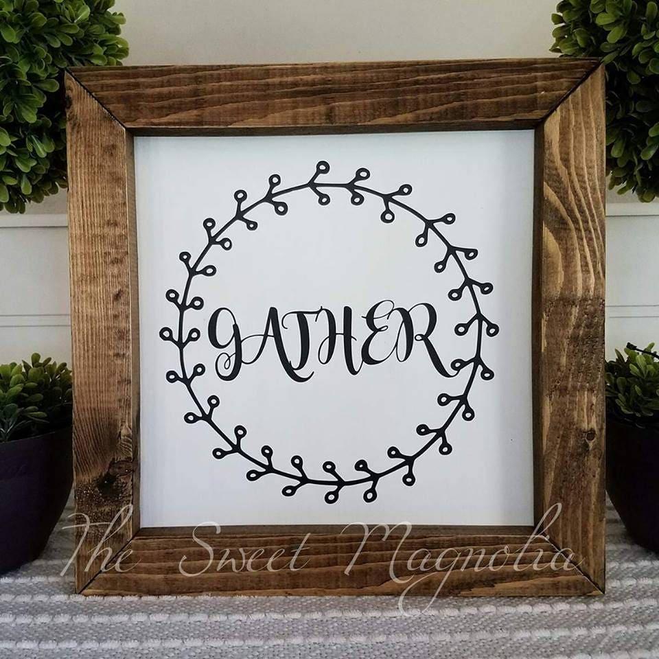 Farmhouse Sign Decor Gather Wreath Fixer Upper Square Framed