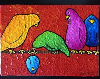 THERE'S ALWAYS ONE ~ Whimsical Bird Art w Personality ~ Colorful Birds ~ Joyful Art ~ Cheerful Gift ~ Unique Custom Birds ~ LimbBirds
