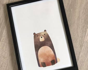 A4 Woodland Nursery Print - Bear