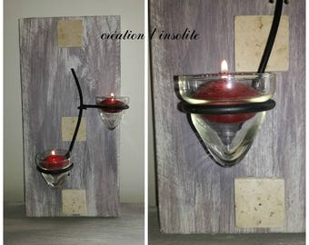 weathered wood and wrought iron candle sconces