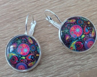 Earrings cabochon multicoloured