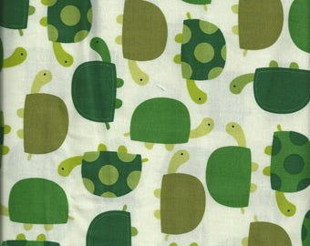 Cotton quilting fabric with green Tortoises