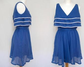 vintage sailor dress mini sleeveless blue 80s cosplay anime Matrosenkleid