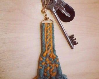 """Green"" key chain hand woven"