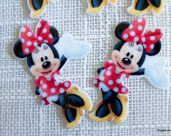 5 resin cabochon applique Minnie red polka dot dress