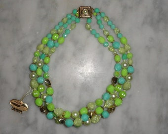 Karu Arke West Germany with Tag Vintage Three Strand Necklace Pastel Lime Green and Turquoise Gold Tone SHIPS FREE