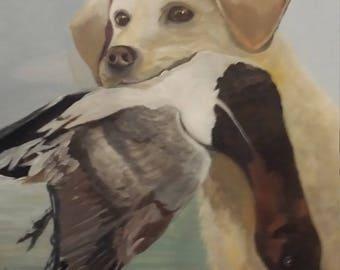 Good Work , Retriever with Wood Duck