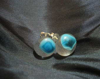 Transparent turquoise glass earrings