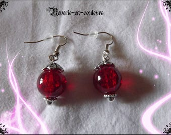 red glass bead earrings