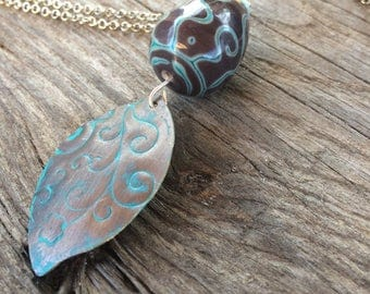 Ethnic necklace, Lampwork bead and plate blue copper turquoise/chocolate and silver
