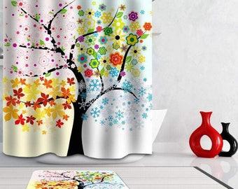Four season tree shower curtain,100% polyester,waterproof,mildrewproof,180cmx180cm,easy dry,digital print,12 rings included,machine washable