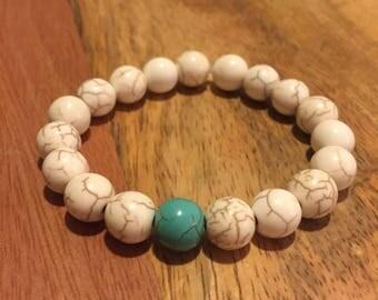 Balance | White & Turquoise Dyed Howlite Beaded Bracelet