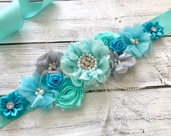 Maternity Sash, Blue and Aqua Sash, Baby Shower, Reveal Party, Photo Prop, Gift, Keepsake