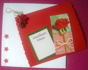 Jewelry card and matching envelope * ROSE Red