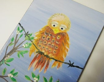 "Painting oil on canvas children's room decor ""little bird sitting on a thread"""