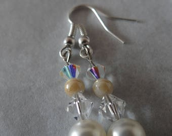 White and Pearl Earrings