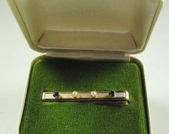 Vintage WELMONT Tie Bar Clasp marked:1/20 12k GF+Blue Stones & Pearls w/orig.box ET4291