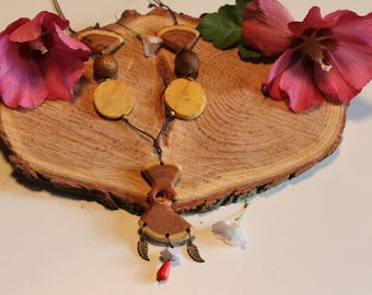 Necklace ethnic wood carved hand Polish, organic beeswax
