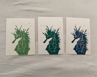 "Lino postcard ' seahorse '/Lino postcard ""sea horse"""