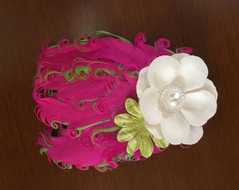 Feather Headband - Pink and Green