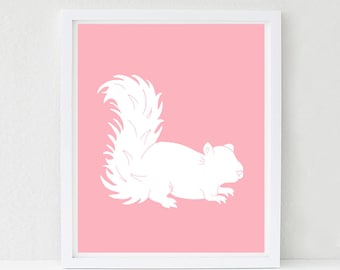 Squirrel Nursery Art, Woodland Nursery, Kids Woodland Bedroom, Forest Friends Wall Art, Baby Shower Decor,