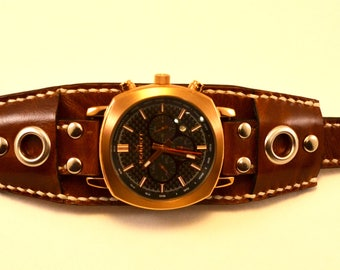 biker watch. Steampunk. Leather Watch Band 24mm. 22mm. 20mm. Watch Strap. strap watches, cuff watch, Leather strap, strap, leather, gift.