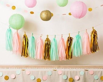 Pink Mint and Gold Party Decor, Tissue Paper Tassels + paper Garland + Paper lantern for Kids Birthday Bridal Shower Baby Shower wedding