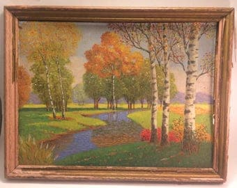 Charming art deco landscape oil on board signed.  I would estimate this is painted late 30s early 40s.  The board itself is slightly warped.
