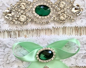 Green Bridal Garter, Green Wedding Garter, Green Rhinestone Garter, Green Crystal Garter, Lace Garter Set, Keepsake Garter, Wedding Garter