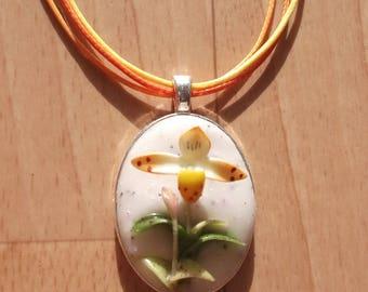 Necklace orange clog venus orange and white spotted