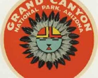 Vintage Style Grand Canyon National Park Arizona  Travel Decal sticker