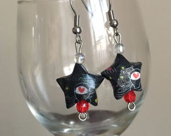 Origami Star Drop Earrings - Black and White Music Note Coffee Cup
